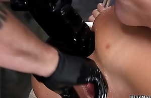 Hogtied in the air gets anal team-fucked