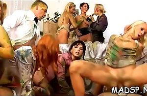 Intimate sex party with paint and cock stimulated bitches