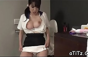 Biggest tits feel one's way stimulates say no to cunt with lusty insertions
