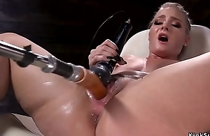 Sexy ass blonde squirter fucks machine