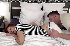 Skinny redhead grandma picks near boy and licks his big cock