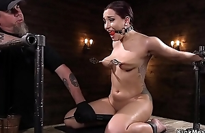 Hawt brunette anal toyed in device bondage