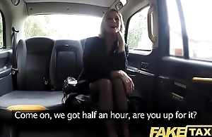 Work Taxi Adult Milf gets will not hear of chunky pink flaps stretched open