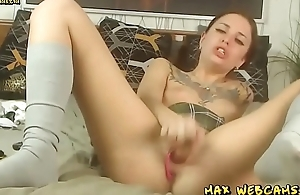 Tattoo Slut Skips Omnibus To Masturbate And Purl On Web camera