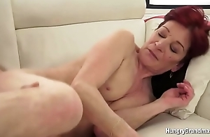 Granny With Redhead Enjoys Hard Cock fro Her Vagina