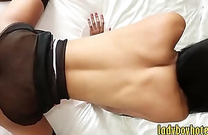 Tall boobs Asian tranny gets her anal banged in many poses