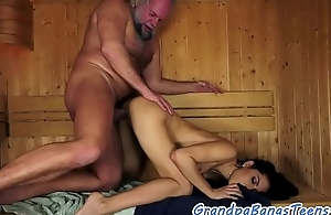 Pussyfucked euro pulchritude drilled by grandpa