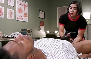 Oriental dom doctor strokes black slaves dick