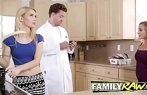 Horny family banging it out with a hot threeway fuck